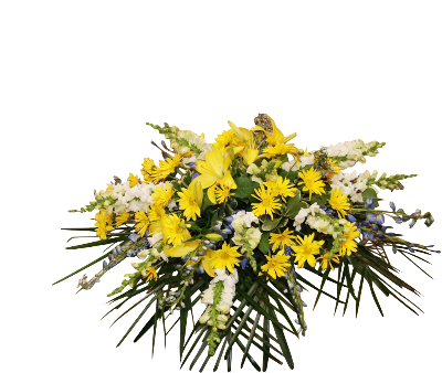 Casket Spray Yellow White